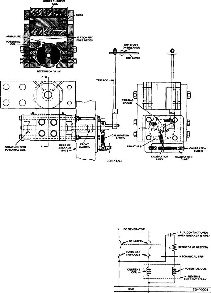 mechanical construction of an dc reverse-current relay